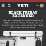 yeti.comでクーラーを買ったらランブラーボトル1本プレゼントCP実施中